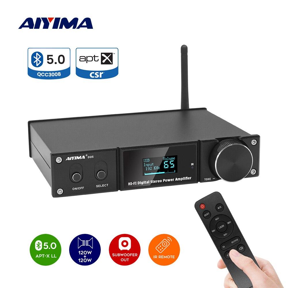 AIYIMA D05 5.0 Bluetooth Sound Amplifier 120W×2 HIFI 2.1 Channel Digital Power Amplifiers Subwoofer Amp USB DAC OLED Remote APTX
